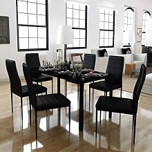 Conjunto de mesa de comedor siete piezas negro -