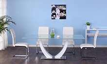 Conjunto de mesa MEZZO + 4 sillas LIRICA - Blanco