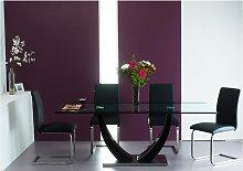 Conjunto de mesa MEZZO + 4 sillas LIRICA - Negro