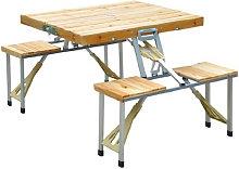 Conjunto de mesa plegable con 4 asientos Outsunny
