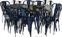 Conjunto de mesa tipo tólix y seis sillas estilo