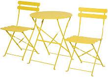 Conjunto de mesa y 2 sillas de metal de color