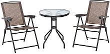 Conjunto de mesa y 2 sillas de textilene y acero