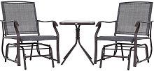 Conjunto de mesa y 2 sillas mecedoras gris Outsunny
