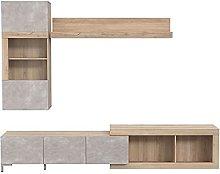 Conjunto de mueble de TV de pared efecto roble y