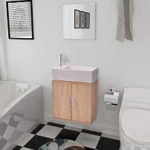Conjunto de mueble y lavabo 3 piezas beige - Beige
