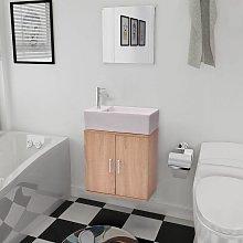 Conjunto de mueble y lavabo 3 piezas beige