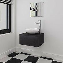 Conjunto de mueble y lavabo 3 piezas negro - Negro