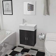 Conjunto de mueble y lavabo negro 3 piezas - Negro