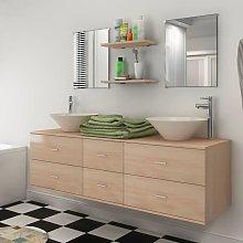 Conjunto de muebles de baño y lavabo 7 piezas