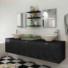 Conjunto de muebles de bano y lavabo 8 piezas negro