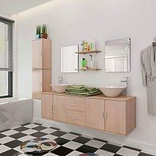 Conjunto de muebles de baño y lavabo 9 piezas