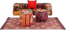 Conjunto de sofá modular 6 piezas estampado de