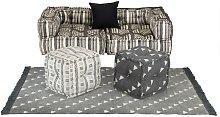 Conjunto de sofá modular 6 piezas tela de rayas -