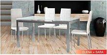 Conjunto mesa 2 colores y 4 sillas sara blancas