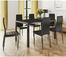 Conjunto mesa de salon + 6 sillas negro