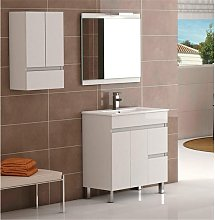 Conjunto mueble de baño blanco con espejo Nele