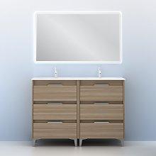 Conjunto mueble de baño con lavabo doble poza de