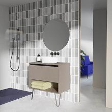 Conjunto mueble de baño con lavabo sobre encimera