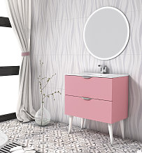 Conjunto mueble de baño Nórdico rosa chicle mate