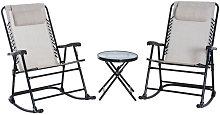 Conjunto plegable de mesa y 2 sillas mecedoras