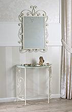 Consola con espejo Hawaii en hierro forjado color