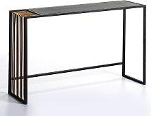 Consola espejo envejecido/ metal dorado/ negro