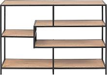 Consola industrial metal negro y madera L114 cm