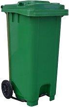 Contenedor basura 120L con ruedas y pedal verde -