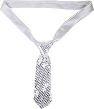 Corbata de Lentejuelas Plateada, para Carnaval,