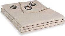 Cortina con ojales de lino lavado beige 140x300 -