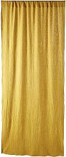 Cortina con presillas de algodón amarillo mostaza
