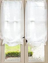 Cortina corta de nudos de lino crudo 60x120 - la