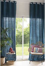 Cortina de ojales de lino lavado azul intenso -