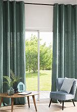 Cortina de ojales de lino lavado verde albahaca