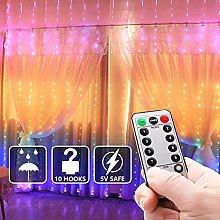Cortina luminosa LED, 4 tipos de cambio de color,