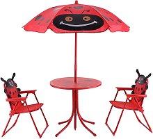 Costway Conjunto de mesa con sombrilla y 2 sillas