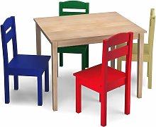 Costway - Juego Mueble para Niños Mesa y 4 Sillas