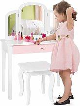 COSTWAY Set Tocador Infantil con Espejo Tripartido