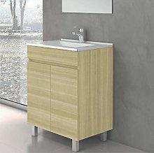 CTESI Mueble de baño con Lavabo de Porcelana -