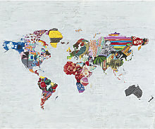 Cuadro Mapamundi collage80x100 cm