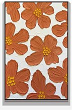 Cuadros Modernos Al Oleo,Naranja Textura Flor De
