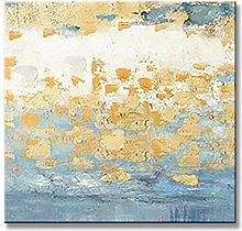 Cuadros Modernos Al Oleo,Textura Azul Lámina De