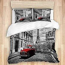 Cubierta de edredón, Torre Eiffel Red Car Vintage