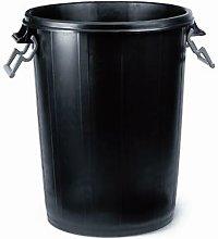 Cubo Basura 100 Lt Plastico Negro Con Tapa 31129 -