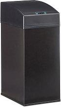 Cubo Basura Cocina con Sensor, Acero, Negro, 35 x