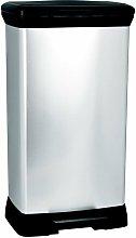 Cubo basura con pedal plata 50L Decobin