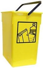 Cubo basura Reciclar 20X28X34 C/Asa amarillo 15l.