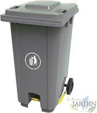 Cubo de basura 120 litros gris 56x48x93 cm