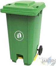 Cubo de basura 120 litros verde 56x48x93 cm